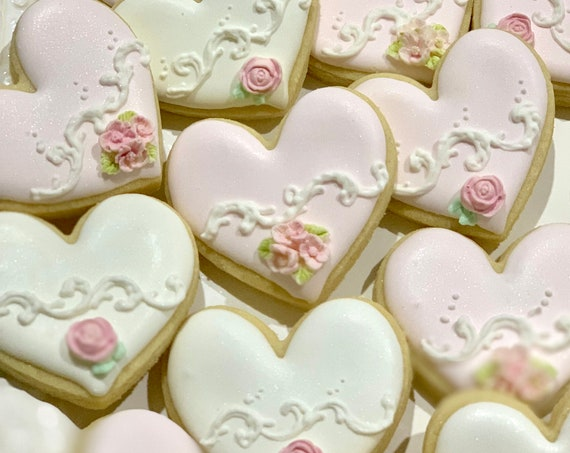 White and Pink Elegant Classic Heart Small Cookies, 12 Pieces