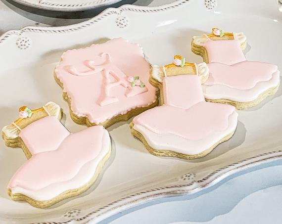 Girl's Dress Cookies for Baby Showers or Birthdays, Custom Baby Onesies Sugar Cookies, Baby Shower Cookies