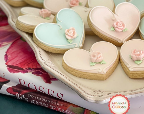 12 Pcs. Assorted Color Heart Cookie Favor- Wedding Favors, Bridal Showers, Bridemaids Gifts, Baby Showers