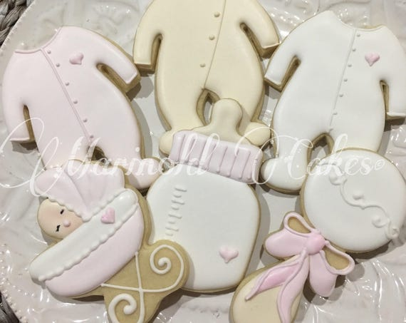 12 Assorted Girl Baby Shower Cookie Favors-for baby showers or birthdays, baby onesie cookies