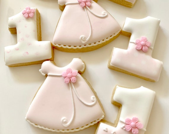 First Birthday Mini Cookie Favors, 12 Pieces