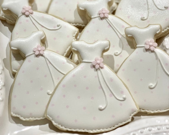 First Communion or Birthday Dress Cookie Favors, 12 Pieces