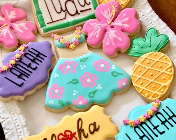 Hawaiian Themed Cookies- 12 Pieces Birthday, Shower Wedding Luau