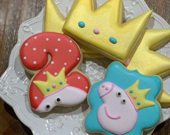 Pig, Crown, and Number Cookies for birthdays, baby onesie cookies