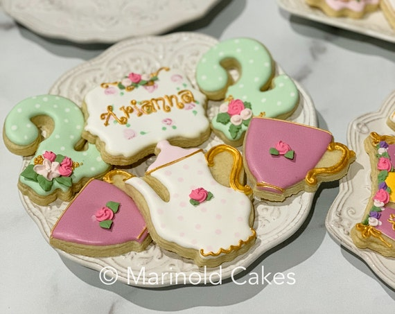 Tea Party Themed Birthday or Shower Cookies