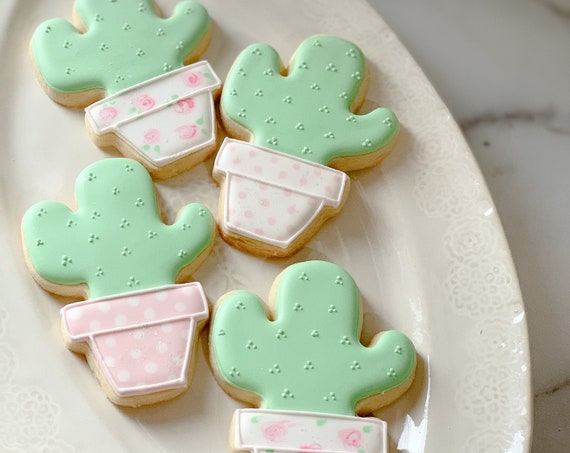 Shabby Chic Cactus Decorated Cookie Favors, For Garden Themed Parties, 1 Dozen