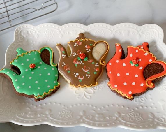 12 Tea Pot Cookies, 3 Assorted Colors