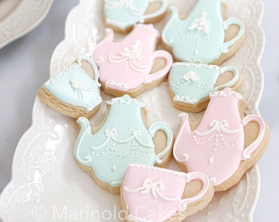 12 Classic French Teapot Cookies for High Tea Parties, Birthdays, Bridal Showers, Baby Showers