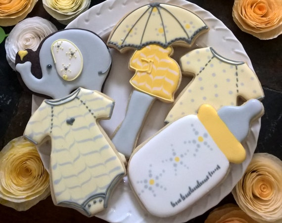 12 Baby Shower Cookie Favor Collection- Pregnant Mom/Baby Bump, Bottle, Elephant and Onesies