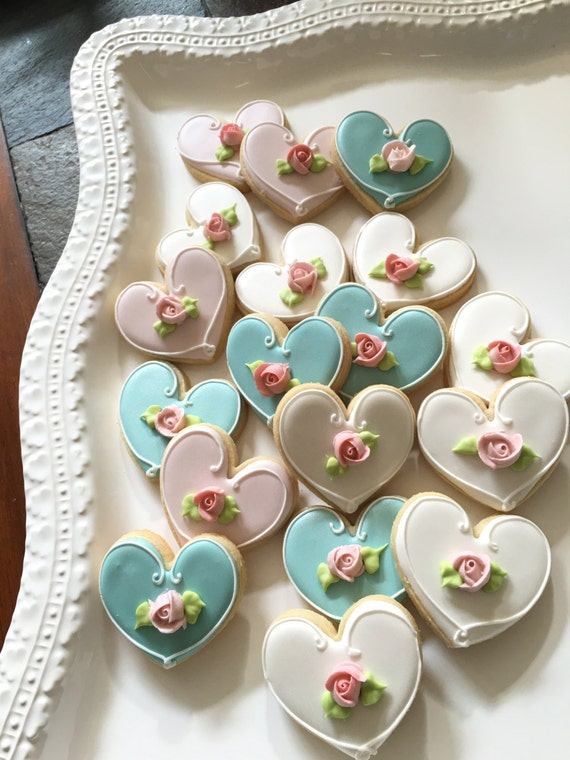 100 Pcs. Assorted Color Heart Cookie Favor- Wedding Favors, Bridal Showers, Bridemaids Gifts, Baby Showers