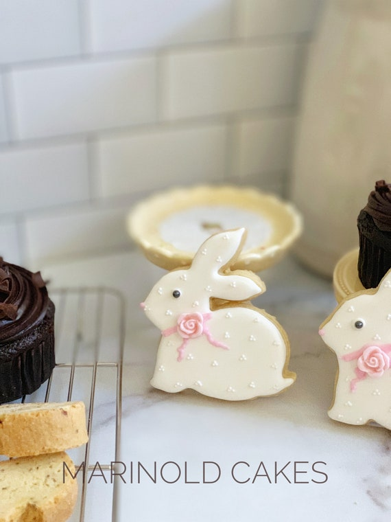 White Bunny Rabbit Cookies for Baby Showers or Birthdays, 12 pieces