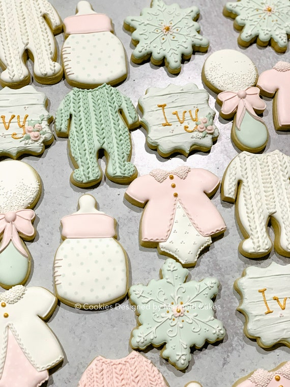 Pink and Green Winter Baby Shower, 1 Dozen - Baby It's Cold Outside Themed Decorated Cookie Favors, Snowflakes and Baby Cookies