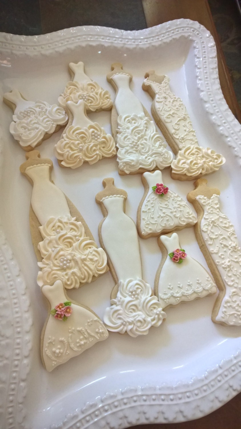 ecru and white wedding entourage dress cookies 10 bridal shower cookies wedding giveaway winter wedding bridesmaid gifts