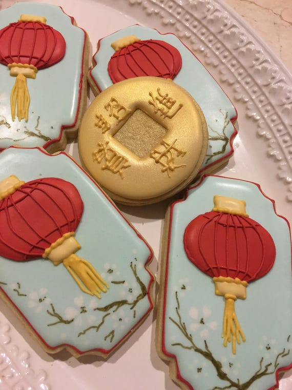 12 Framed Chinese Lantern Cookie Favors - Chinese Wedding, Chinese New Year