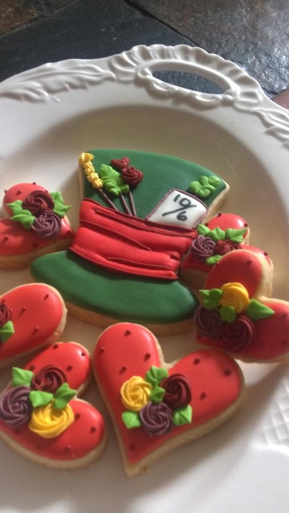 Decorated Hat Cookies - Wonderland Inspired Cookies-1 Dozen Hat Cookies