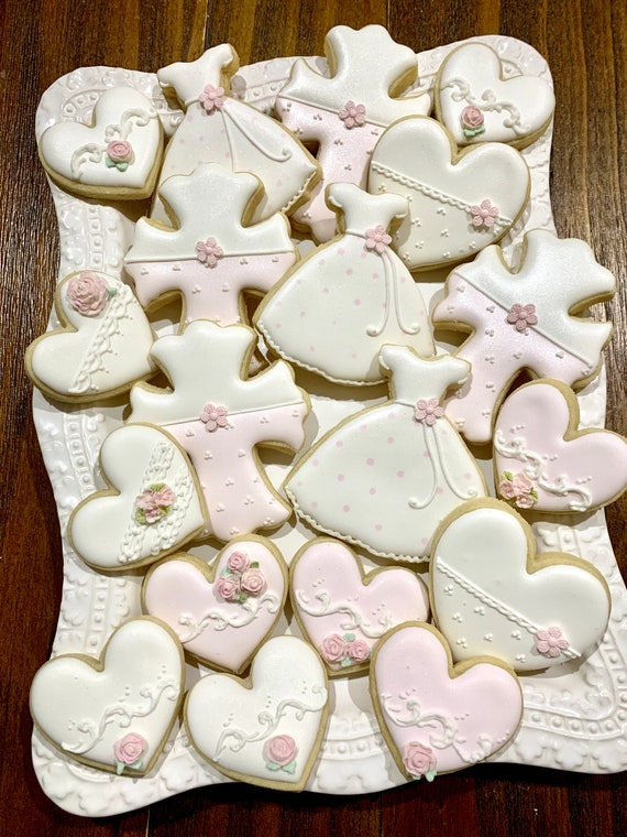 Christening or First Communion, 12 Pieces Combination of Dresses, Hearts and Crosses