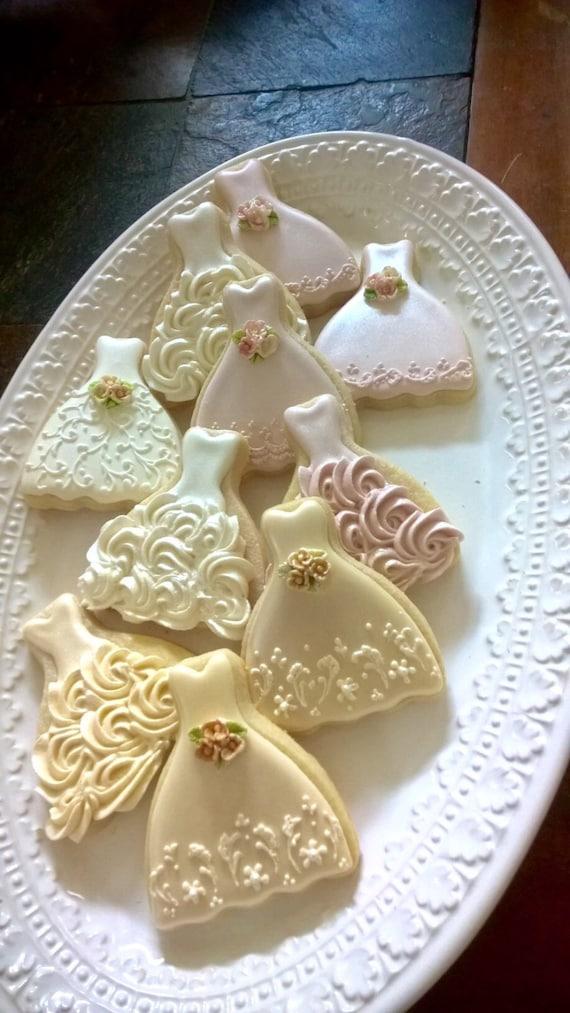 100 Pieces Petite Sized Wedding Dress Cookies - Cookie Favors, Wedding Cookies,  Bridal Shower Cookies, wedding gown cookies