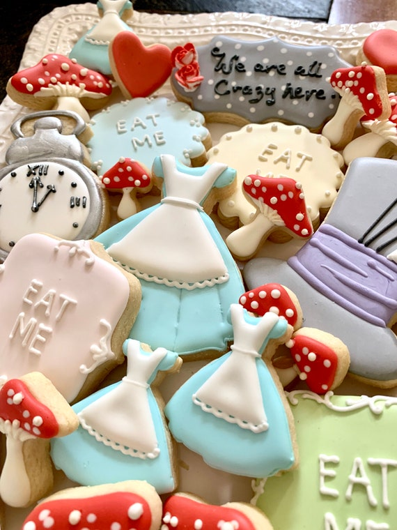 Alice Inspired Cookie Favors, 12 Pieces