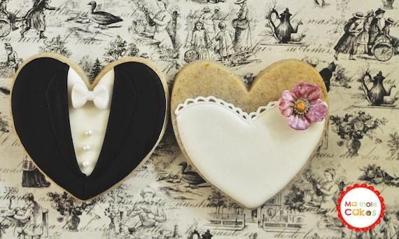 Blossom Bride and Groom Wedding Favor Cookies- 1 Dozen (6 Pair Set)- Cookie Favors, Wedding Cookies,  Bridal Shower Cookies