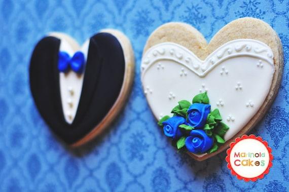 Rosebud Bouquet Bride and Groom Hearts Wedding Favor Cookies- 1 Dozen (6 Pair Set)- Cookie Favors, Wedding Cookies,  Bridal Shower Cookies