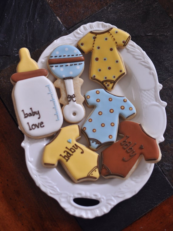Onesies, Rattle, and Feeding Bottle Baby Shower Cookies, 12 Pieces