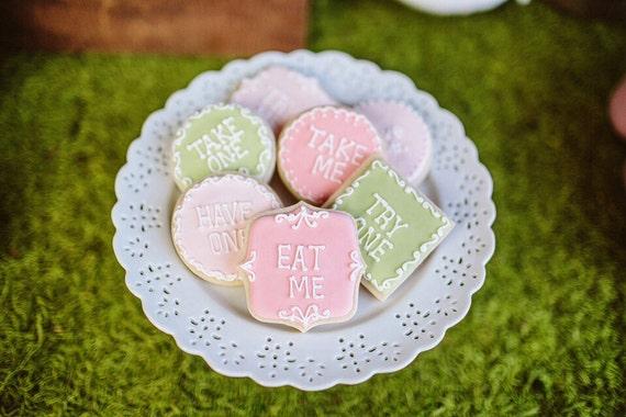 Monogram or Message Cookies- 1 Dozen  Eat Me Plaque/Frame Cookie Favor, Baby Shower, Birthday Cookies