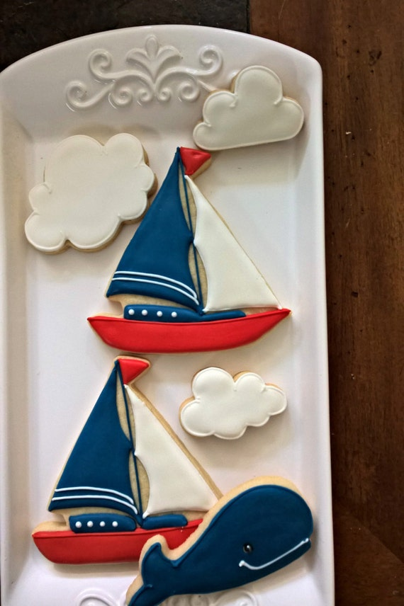 Sailboat Cookie- 12 Pieces Cookie Favor, Nautical Themed Baby Shower, Ahoy It's a Boy!, Birthday