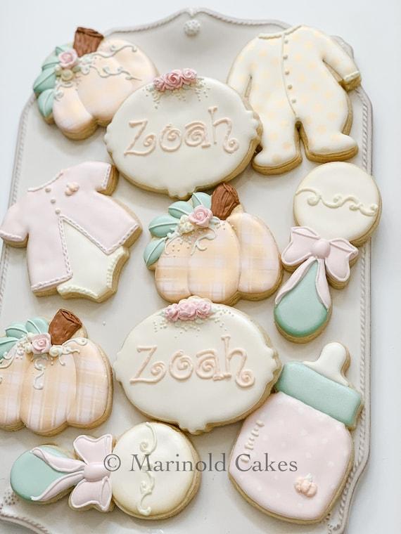 12 Pumpkin Theme Baby Shower Cookies