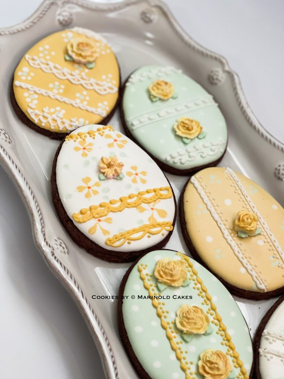 Easter Egg Cookies for Baby Showers or Birthdays, 12 pieces