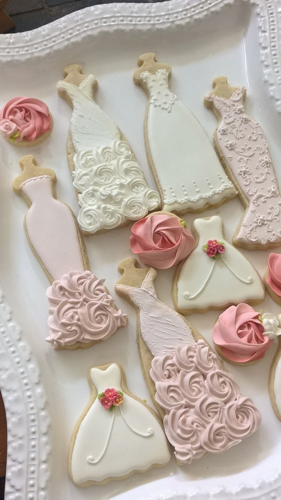 Pink and White Wedding Dress Cookies, 10 Pieces