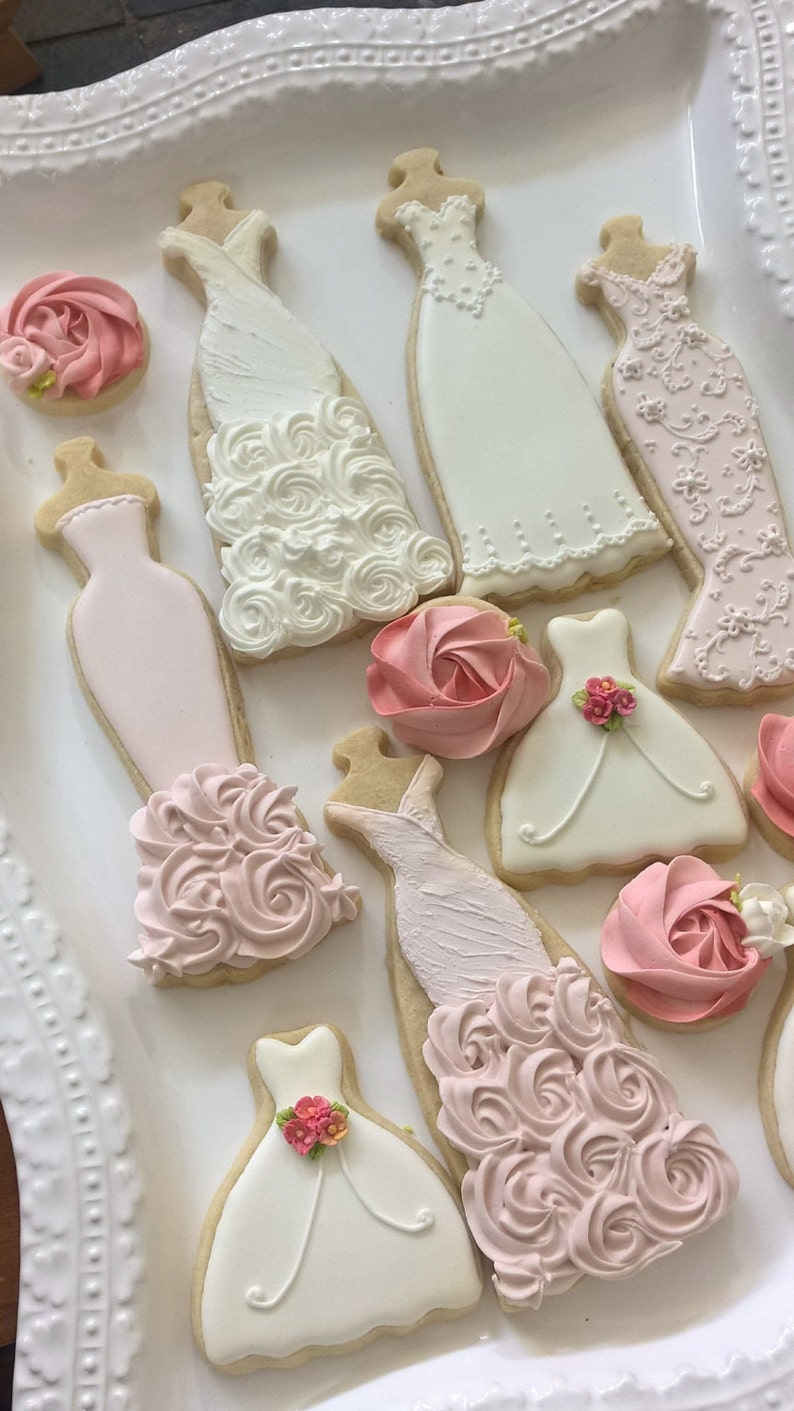 Pink and White Wedding Dress Cookies 10 Pieces | Etsy
