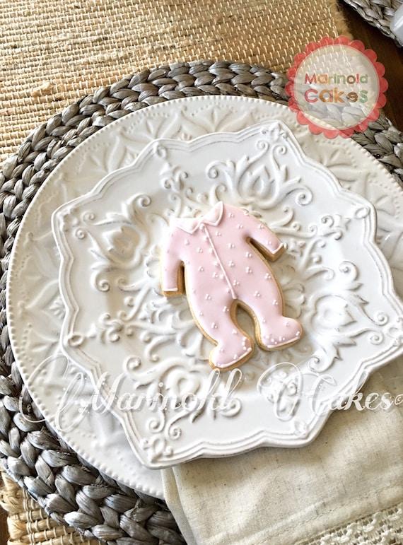 12 Girl's All-in-one Footsie Pajama Cookies for baby showers or birthdays, baby onesie cookies