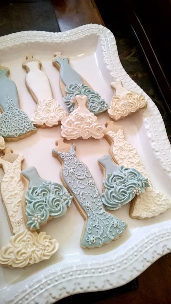 Blue and White Wedding Entourage Dress Cookies-10 Pieces, Edible Wedding Favor, Bridesmaid Gift