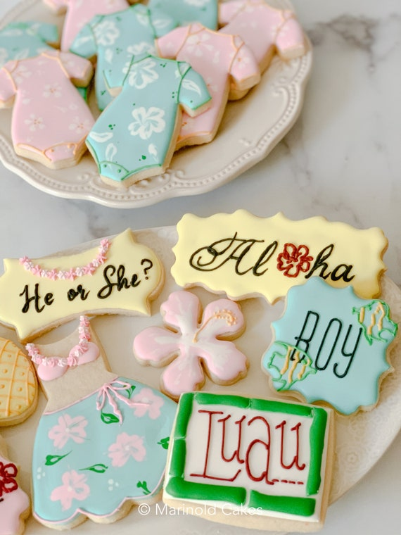 12 Hawaiian Themed Cookies for Baby Shower, Gender Reveal Party