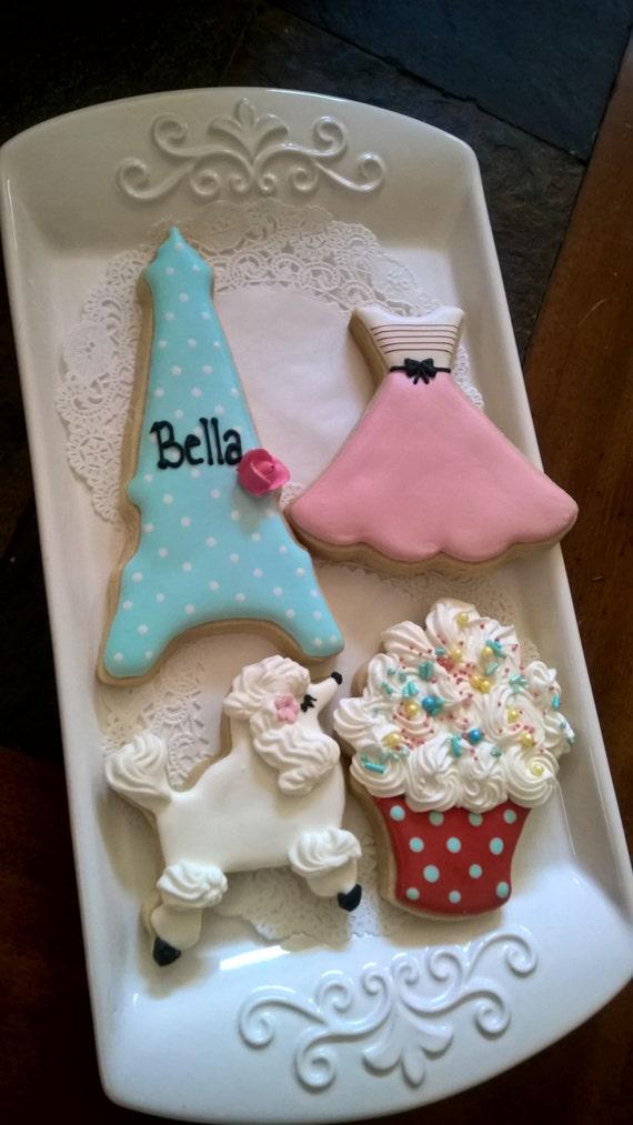 Paris Theme Cookie Favors - Eiffel Tower, Poodle, Girl's Dress