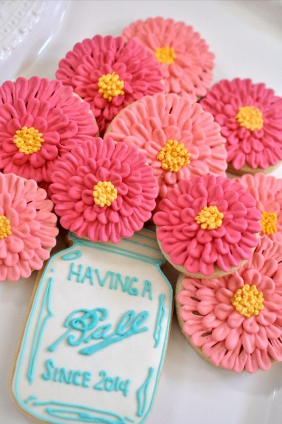 Mason Jar and Zinnia cookies-12 Pieces