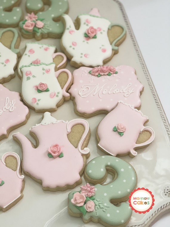 Shabby Chic Tea Party Themed First Birthday Cookie Favors