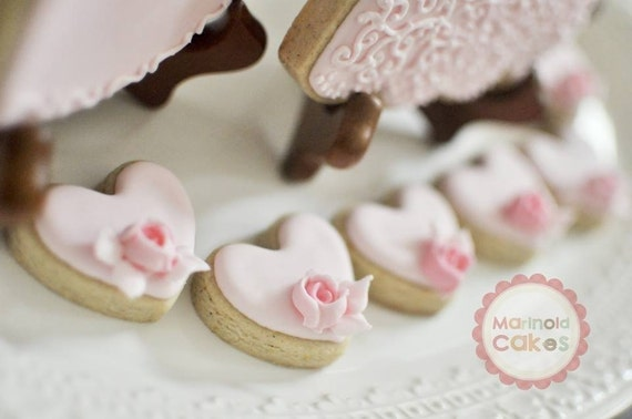 24 Pcs Rosebud Mini Heart Cookie Favor- Wedding Favors, Bridal Showers, Bridesmaids Gifts, Baby Showers