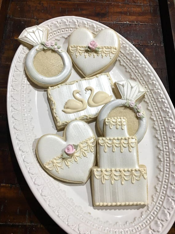 Set of 12 Wedding Favor Cookies - Cake, Swan, Ring and Heart-Classic Baroque, Mary Antoinette Wedding Style