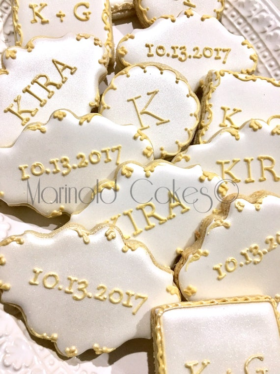 Monogram, Message, Date Cookies - 12 Cookie Favors for Weddings, Showers, and Birthdays