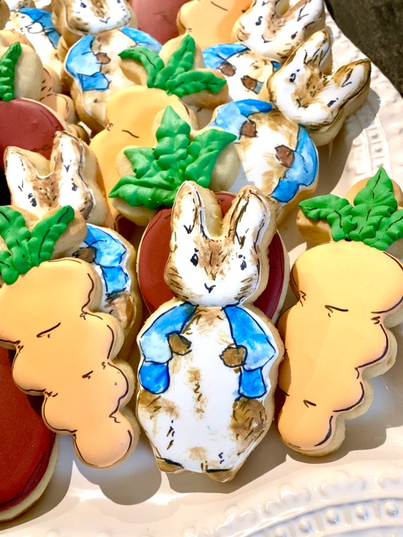 Bunnies, Carrots,  and Red Radish Cookies for baby showers or birthdays, baby onesie cookies