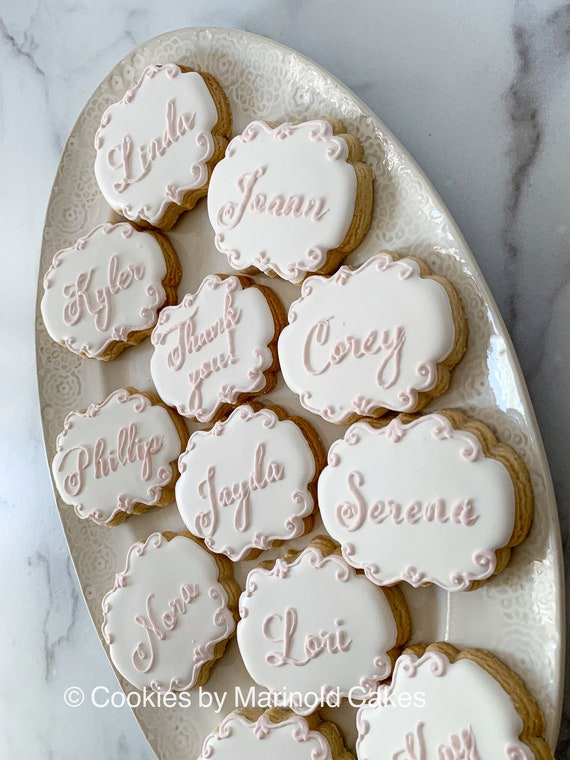 """Table Place Card Cookies - Dozen 3"""" Cookie Favors for Weddings, Showers, and Birthdays"""
