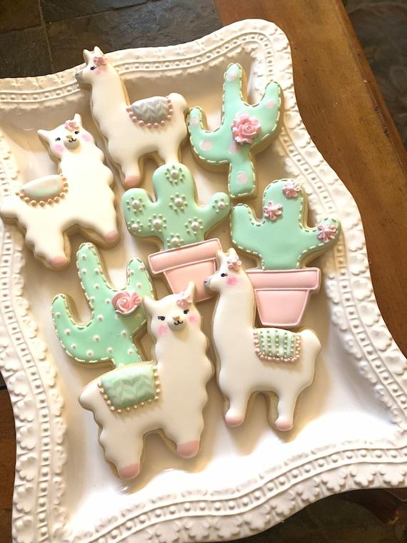 Llama and Cactus Decorated Cookie Favors, 1 Dozen