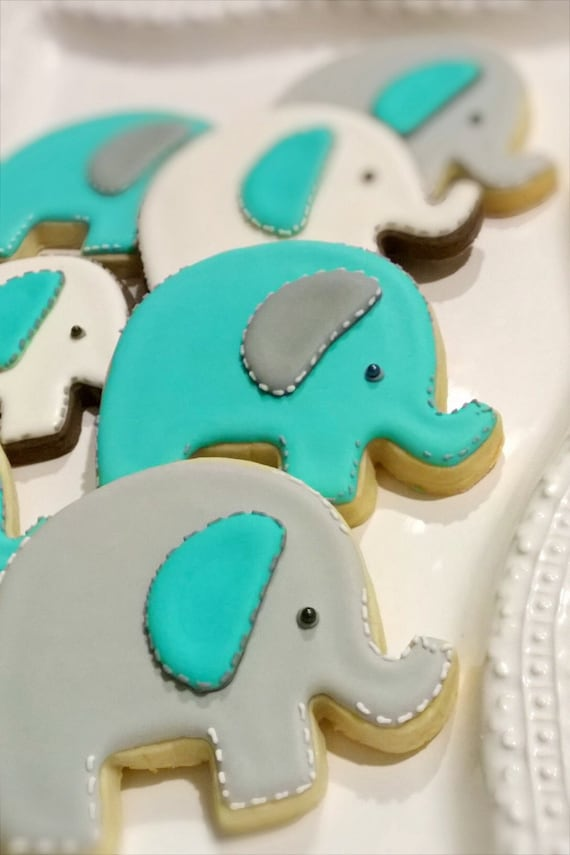 Baby Elephant Cookies- 1 Dozen for Baby Shower, Birthday Party Favors