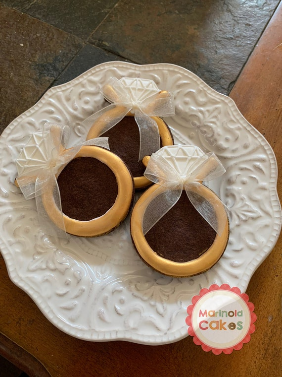 12 Engagement Ring with Ribbon Accent Cookie Favors-For Engagement, Bridal Shower, Wedding Parties