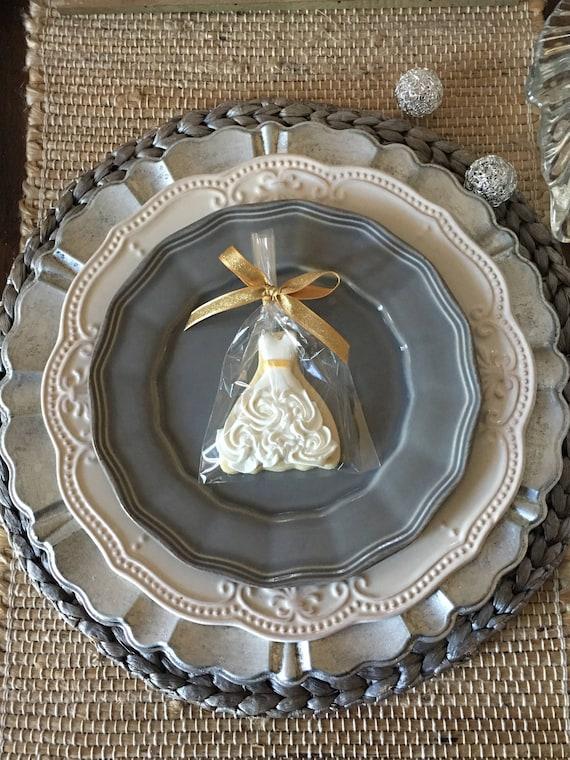 1 Dozen Petite Sized Wedding Dress Cookies - Cookie Favors, Wedding Cookies,  Bridal Shower Cookies, wedding gown cookies