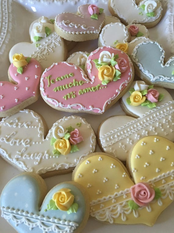 Tea Party Heart Cookies for Wedding, Bridal Shower Cookies, Bridesmaids' Gifts, Birthday, Anniversary