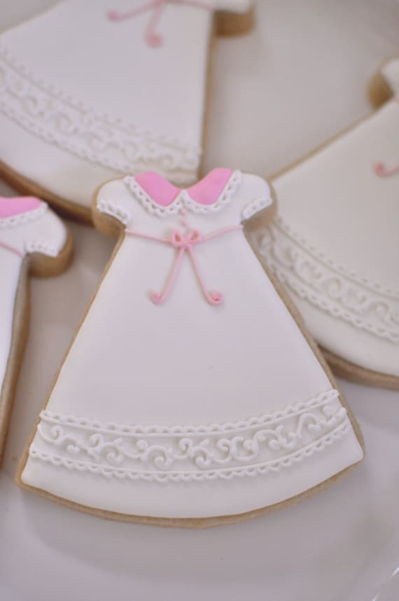 12 Girl's Christening or First Communion Gown Cookies-Cookie Favor