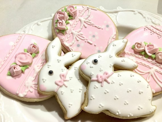 Bunny and Egg Cookies for Baby Showers or Birthdays, 12 pieces