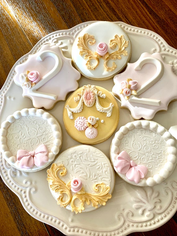 Elegant Blush Pink and Gold Birthday Cookie Favors, 12 Pieces